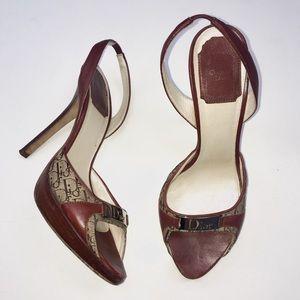 Dior Vintage Red Monogram Peep Toe Slingback Heels